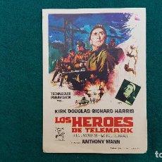 Cine: PROGRAMA DE MANO CINE LOS HEROES DEL TELEMARK (1967) CON CINE AL DORSO. Lote 222250278