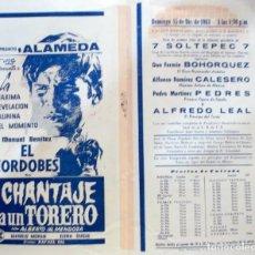 Cine: 1963 PROGRAMA DE CINE Y TORO Y PUBLICIDAD DE LAVADORA MEXICO. Lote 222251790