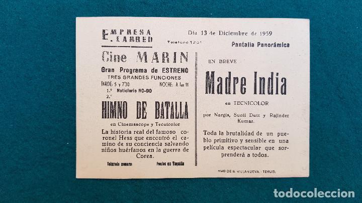 Cine: PROGRAMA DE MANO CINE HIMNO DE BATALLA (1959) CON CINE AL DORSO - Foto 2 - 222265463