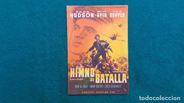 PROGRAMA DE MANO CINE HIMNO DE BATALLA (1959) CON CINE AL DORSO (Cine - Folletos de Mano - Bélicas)