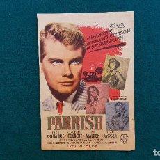 Cine: PROGRAMA DE MANO CINE PARRISH (1962) CON CINE AL DORSO. Lote 222266545