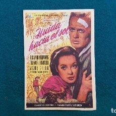 Cine: PROGRAMA DE MANO CINE HUIDA HACIA EL SOL (1957) CON CINE AL DORSO. Lote 222267373