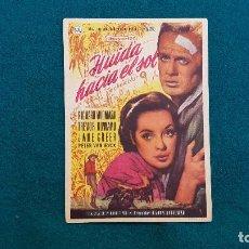 Cine: PROGRAMA DE MANO CINE HUIDA HACIA EL SOL (1957) CON CINE AL DORSO. Lote 222267453