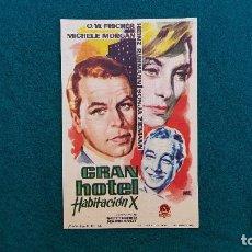 Cine: PROGRAMA DE MANO CINE GRAN HOTEL, HABITACION X (1961) CON CINE AL DORSO. Lote 222272148