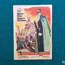 Cine: PROGRAMA DE MANO CINE EL HAMPA DE PARIS (1962) CON CINE AL DORSO. Lote 222274355