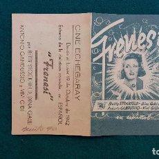 Cine: PROGRAMA DE MANO CINE FRENESI (1942) CON CINE AL DORSO. Lote 222282836