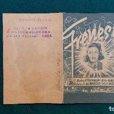 Cine: PROGRAMA DE MANO CINE FRENESI (1942) CON CINE AL DORSO. Lote 222283235