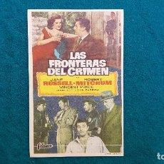 Cine: PROGRAMA DE MANO CINE LAS FRONTERAS DEL CRIMEN (1957) CON CINE AL DORSO. Lote 222284775