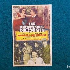 Cine: PROGRAMA DE MANO CINE LAS FRONTERAS DEL CRIMEN (1957) CON CINE AL DORSO. Lote 222284821