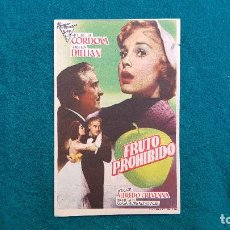 Cine: PROGRAMA DE MANO CINE FRUTO PROHIBIDO (1957) CON CINE AL DORSO. Lote 222285862