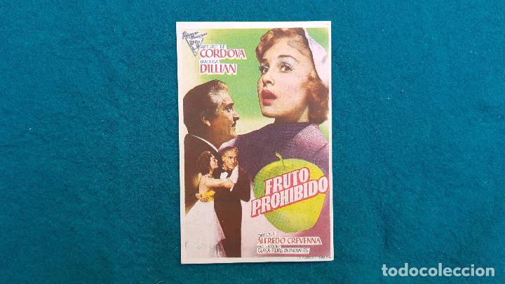 PROGRAMA DE MANO CINE FRUTO PROHIBIDO (1957) CON CINE AL DORSO (Cine - Folletos de Mano - Terror)