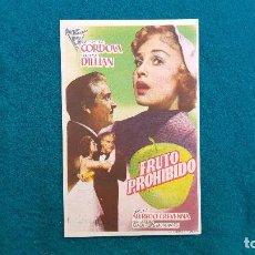 Folhetos de mão de filmes antigos de cinema: PROGRAMA DE MANO CINE FRUTO PROHIBIDO (1957) CON CINE AL DORSO. Lote 222285902