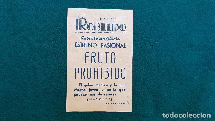 Cine: PROGRAMA DE MANO CINE FRUTO PROHIBIDO (1957) CON CINE AL DORSO - Foto 2 - 222285902