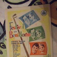 Cine: FESTIVAL EN BENIDORM - SENCILLO CON PUBLICIDAD SALON NOVEDADES - PERFECTO. Lote 222383942