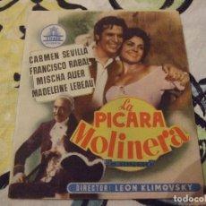 Cine: LA PICARA MOLINERA - DOBLE CON PUBLICIDAD SALON NOVEDADES CINE RIACHO - PERFECTO. Lote 222384215