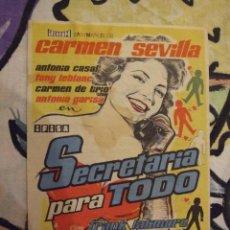 Cine: SECRETARIA PARA TODO - SENCILLO CON PUBLICIDAD TERRAZA DE VERANO - PERFECTO. Lote 222388221
