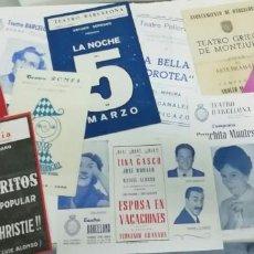 Cine: LOTE DE 13 PROGRAMAS DE MANO DE TEATRO. ORIGINALES. TEATRO - CINE. Lote 222486822