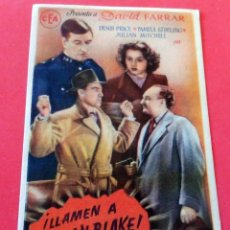 Flyers Publicitaires de films Anciens: PROGRAMA DE CINE - LLAMEN A SEXTON BLAKE - CINE CARMEN PALAMÓS 1947. Lote 222493006
