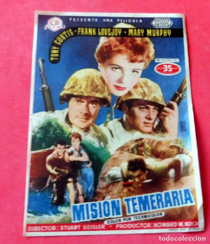 PROGRAMA DE CINE - MISIÓN TEMERARIA - CINE DORADO (Cine - Folletos de Mano - Bélicas)
