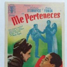 Cine: PROGRAMA DE CINE, ME PERTENECES, CINE CHAPI, AÑO 1945. Lote 222551618