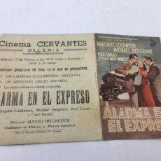 Cine: ALARMA EN EL EXPRESO DE ALFRED HITCHCOCK - PROGRAMA DOBLE - REF. FM-022. Lote 222560358