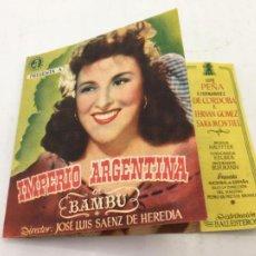 Cine: BAMBU CON IMPERIO ARGENTINA Y SARA MONTIEL - PROGRAMA CON DOBLE DE CINE - REF. FM-014. Lote 222583546