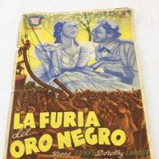 Cine: LA FURIA DEL ORO NEGRO - PROGRAMA SIN DOBLE DE CINE - REF. FM-011. Lote 222587340