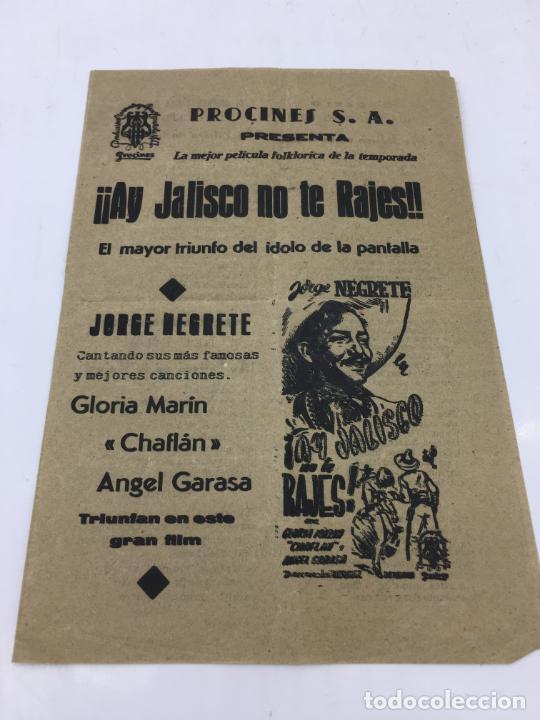 ¡¡AY JALISCO NO TE RAJES!! - CON JORGE NEGRETE Y CANCINERO EN EL INTERIOR - REF. FM-010 (Cine - Folletos de Mano - Westerns)