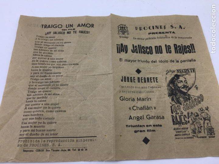 Cine: ¡¡AY JALISCO NO TE RAJES!! DE JORGE NEGRETE - FOLLETO DE MANO - REF. FM-008 - Foto 2 - 222601772