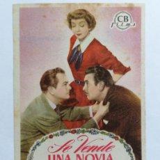 Cine: PROGRAMA DE CINE, SE VENDE UNA NOVIA, SIN PUBLICIDAD. Lote 222603583