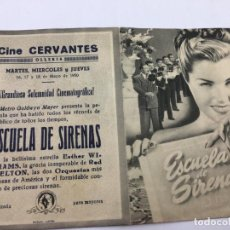 Cine: ESCUELA DE SIRENAS- FOLLETO DE MANO CON DOBLE - REF. FM-005. Lote 222607391