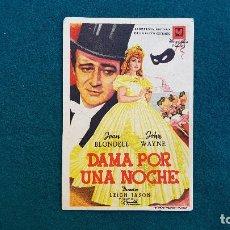 Cine: PROGRAMA DE MANO CINE DAMA POR UNA NOCHE (1946) CON CINE AL DORSO. Lote 222608056
