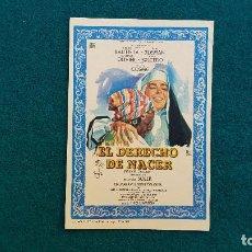 Cine: PROGRAMA DE MANO CINE EL DERECHO DE NACER (1967) CON CINE AL DORSO. Lote 222608248
