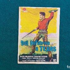 Cine: PROGRAMA DE MANO CINE DEL INFIERNO A TEXAS (1961) CON CINE AL DORSO. Lote 222608381