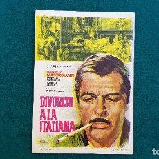 Cine: PROGRAMA DE MANO CINE DIVORCIO A LA ITALIANA (1967) CON CINE AL DORSO. Lote 222608446