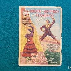 Cine: PROGRAMA DE MANO CINE DUENDE Y MISTERIO DEL FLAMENCO (1953) CON CINE AL DORSO. Lote 222608610