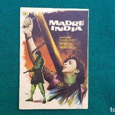 Cine: PROGRAMA DE MANO CINE MADRE INDIA (1961) CON CINE AL DORSO. Lote 222609202