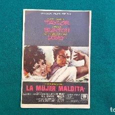 Cine: PROGRAMA DE MANO CINE LA MUJER MALDITA (1965) CON CINE AL DORSO. Lote 222609327