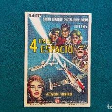 Cine: PROGRAMA DE MANO CINE 4 EN EL ESPACIO (1961) CON CINE AL DORSO. Lote 222609762