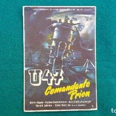 Cine: PROGRAMA DE MANO CINE U47 COMANDANTE PRIEN (1959) CON CINE AL DORSO. Lote 222640237