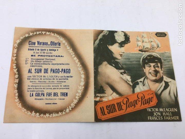 Cine: AL SUR DE PAGO-PAGO - FOLLETO DE MANO CON DOBLE - REF. FM-034 - Foto 2 - 222644881