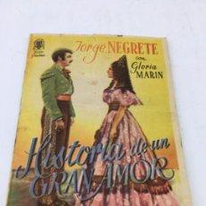 Cine: HISTORIA DE UN GRAN AMOR CON JORGE NEGRETE - FOLLETO DE MANO DOBLE - REF. FM-033. Lote 222646610