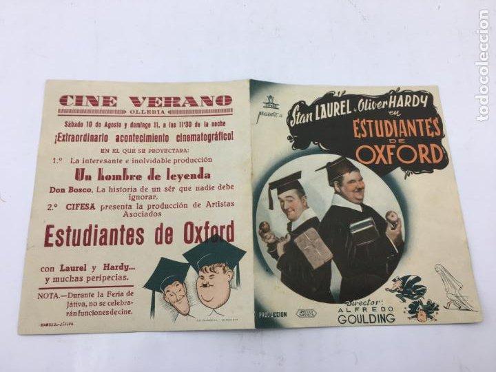 Cine: ESTUDIANTES DE OXFORD CON STAN LAUREL Y OLIVER HARDY - FOLLETO DE MANO DOBLE - REF. FM-032 - Foto 2 - 222648902