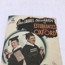 Cine: ESTUDIANTES DE OXFORD CON STAN LAUREL Y OLIVER HARDY - FOLLETO DE MANO DOBLE - REF. FM-032. Lote 222648902