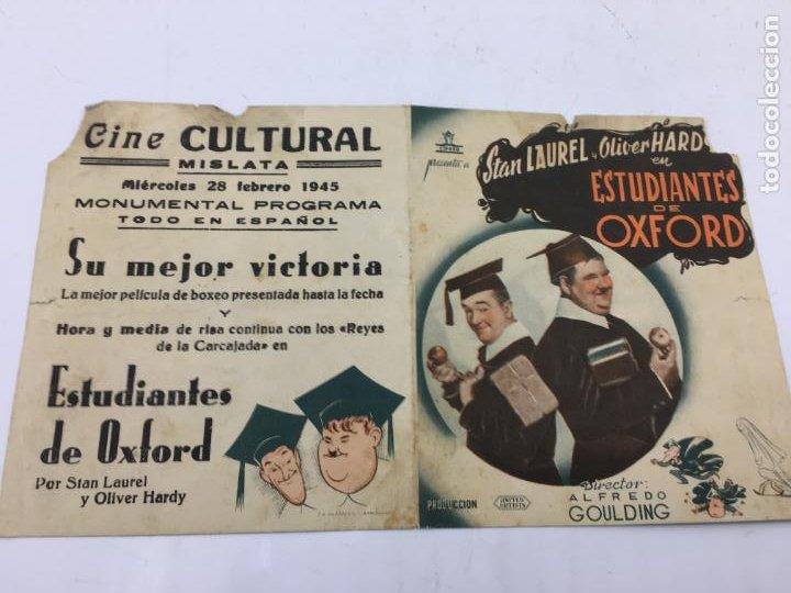 Cine: ESTUDIANTES DE OXFORD CON STAN LAUREL Y OLIVER HARDY - FOLLETO DE MANO DOBLE - REF. FM-030 - Foto 2 - 222649923