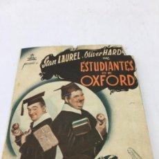 Cine: ESTUDIANTES DE OXFORD CON STAN LAUREL Y OLIVER HARDY - FOLLETO DE MANO DOBLE - REF. FM-030. Lote 222649923
