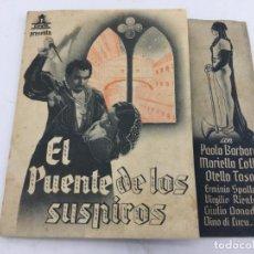 Cine: EL PUENTE DE LOS SUSPIROS - FOLLETO DE MANO DOBLE - REF. FM-027. Lote 222653183
