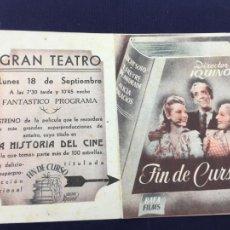 Cine: FIN DE CURSO - FOLLETO DE MANO DOBLE - REF. FM-058. Lote 222662568