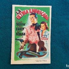 Cine: PROGRAMA DE MANO CINE LA ULTIMA EMBOSCADA (1948) CON CINE AL DORSO. Lote 222666937