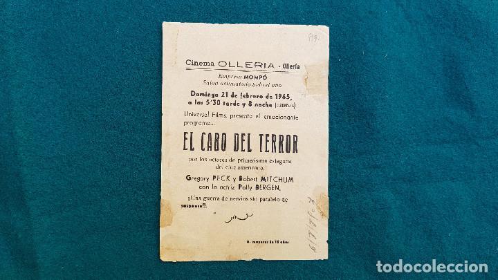 Cine: PROGRAMA DE MANO CINE EL CABO DEL TERROR (1965) CON CINE AL DORSO - Foto 4 - 222667662